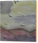 Birds In Flight Wood Print
