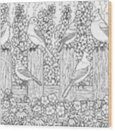 Birds In Flower Garden Coloring Page Wood Print