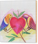 Birds In Love 01 Wood Print
