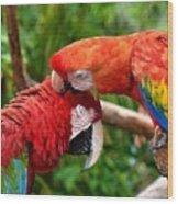 Birds In Love Wood Print