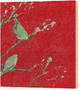 Birds In Red Wood Print