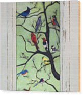 Birds In The Tree Framed Wood Print