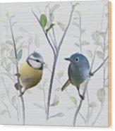 Birds In Tree Wood Print