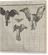 Birds Nailed To A Barn Door (le Haut D'un Battant De Porte) Wood Print