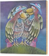 Birds Of A Feather Stick Together Wood Print