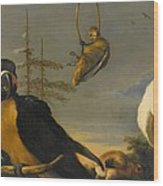 Birds On A Balustrade, Melchior D'hondecoeter, C. 1680 - C. 1690 Wood Print