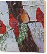Birds On Branch In Snow Wood Print