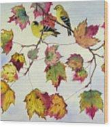 Birds On Maple Tree 10 Wood Print