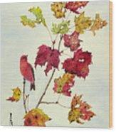 Birds On Maple Tree 12 Wood Print