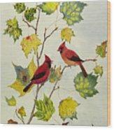 Birds On Maple Tree 2 Wood Print