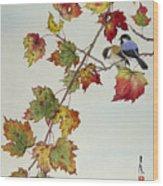 Birds On Maple Tree 4 Wood Print