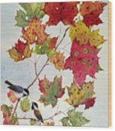 Birds On Maple Tree 6 Wood Print