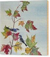 Birds On Maple Tree 7 Wood Print