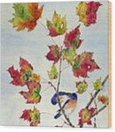 Birds On Maple Tree 8 Wood Print