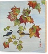 Birds On Maple Tree 9 Wood Print