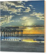 Birds On The Roof Sunrise Tybee Island Wood Print