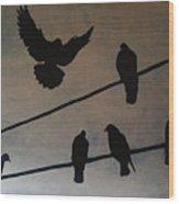 Birds On Wire Wood Print