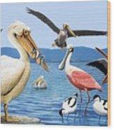 Birds With Strange Beaks Wood Print