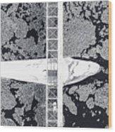 Birdseye View Of Bridge Wood Print