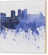 Birmingham Al Skyline In Blue Watercolor On White Background Wood Print