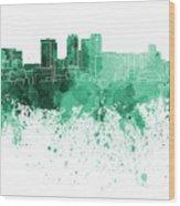 Birmingham Al Skyline In Green Watercolor On White Background Wood Print