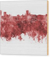 Birmingham Skyline In Red Watercolor On White Background Wood Print