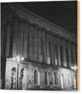 Birmingham Town Hall In The City Centre At Night England Uk Wood Print