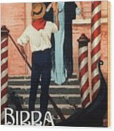 Birra San Marco, Venezia, Italy - Woman With Beer Glass - Retro Travel Poster - Vintage Poster Wood Print