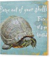Birthday Card - Painted Turtle Wood Print