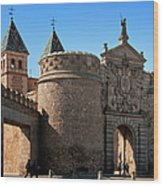 Bisagra Gate Toledo Spain Wood Print by Joan Carroll