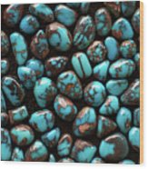 Bisbee Turquoise Wood Print by Sergio Salvador