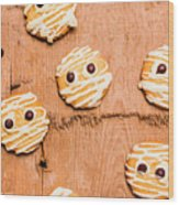 Biscuit Gathering Of Monster Mummies Wood Print