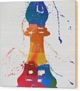 Bishop Chess Piece Paint Splatter Wood Print