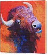 Bison Attitude Wood Print by Marion Rose