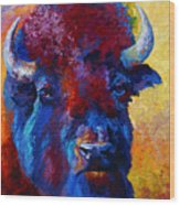 Bison Boss Wood Print by Marion Rose