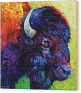 Bison Head Color Study IIi Wood Print