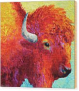 Bison Head Color Study Iv Wood Print by Marion Rose
