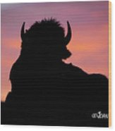Bison Silhouette Wood Print