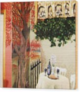 Bistro Mural Detail 2 Wood Print