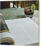 Bistro Table Study, Balcony Garden, Hunter Hill, Hagerstown, Mar Wood Print