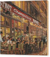 Bistrot Champollion Wood Print