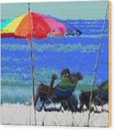 Bit Of Shade On The Beach Wood Print