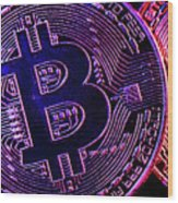 Bitcoin Coins In A Mysterious Lighting Wood Print