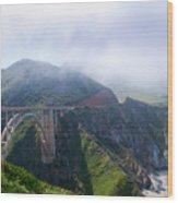 Bixby Bridge Fog Wood Print