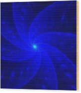Bkue Pinwheel Wood Print