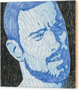 Black And Blue Man Portrait Wood Print