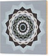 Black And Blue Mandala Wood Print