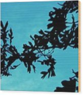 Black And Blue Silhouette Wood Print