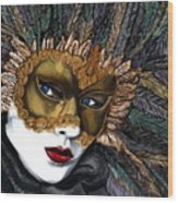 Black And Gold Carnival Mask Wood Print