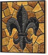 Black And Gold Fleur De Lis Triptych Wood Print